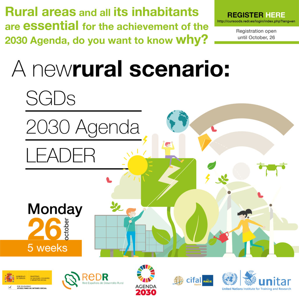 """REDR launches the course """"A new rural scenario: SDGs, 2030 Agenda and LEADER"""" for the achievement of sustainable development in rural areas (certified by United Nations)"""
